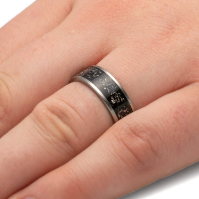Black Stardust™ Meteorite Wedding Band With Matte Titanium Finish-2685 - Jewelry by Johan