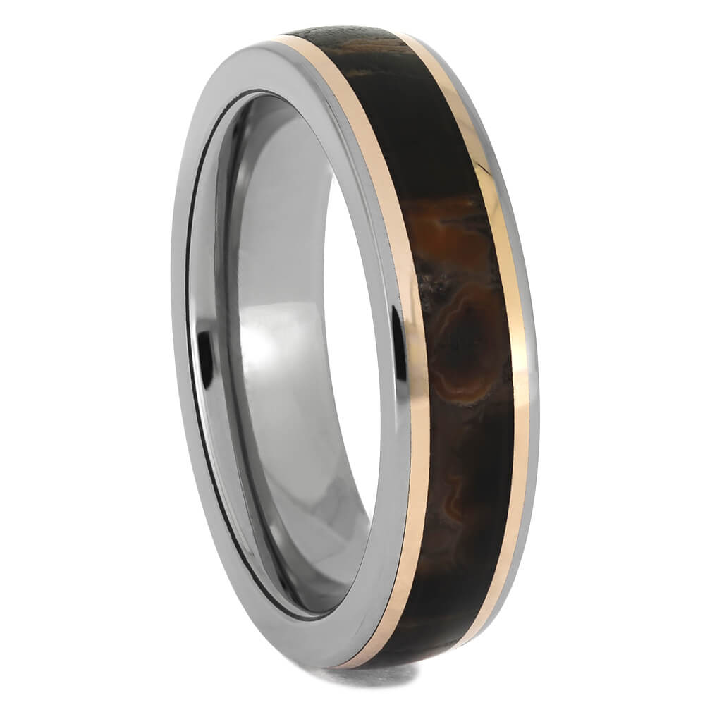 Titanium and Rose Gold Wedding bands