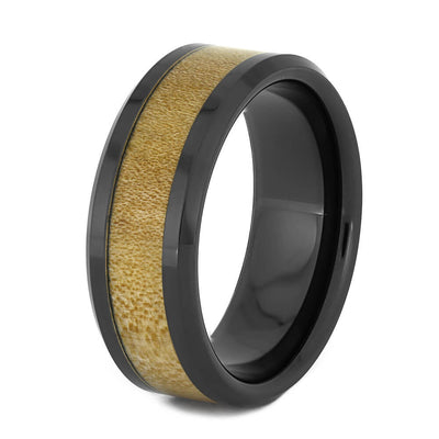 Maple Wood Ring, Black Ceramic Wedding Band For Men-2697 - Jewelry by Johan