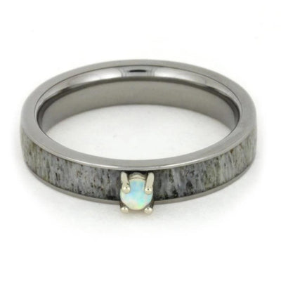 Opal Engagement Ring with Deer Antler Band-1770 - Jewelry by Johan