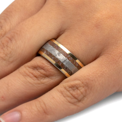 Rose Gold Fossil Ring, Meteorite Men's Wedding Band With Whiskey Oak Sleeve-2701 - Jewelry by Johan