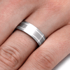titanium and sterling silver ring shown on finger