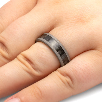 Carbon Fiber Wedding Band, Whiskey Oak Sleeve Ring With Sandblasted Titanium-2707 - Jewelry by Johan
