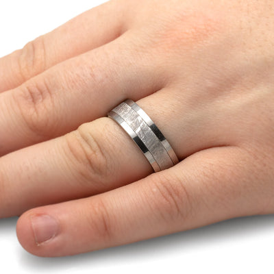 Men's Meteorite Ring With Tungsten Band-2713 - Jewelry by Johan