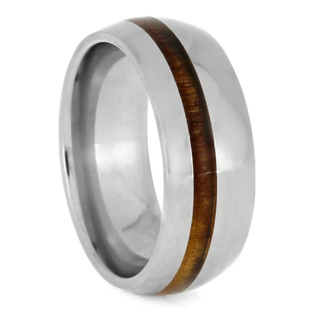 Polished Titanium Ring With Koa Wood, Tropical Wood Wedding Band-3641 - Jewelry by Johan