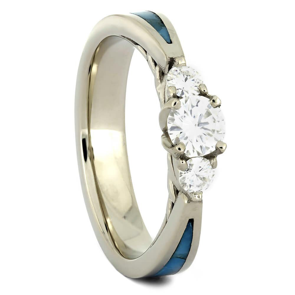 Genuine Turquoise & Three Stone Moissanite Engagement Ring - Jewelry by Johan