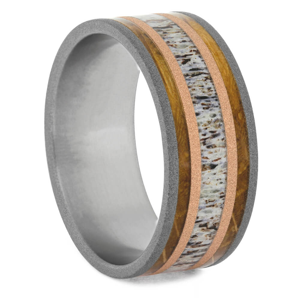 Deer Antler Wedding Band with Whiskey Barrel Oak Wood-2735 - Jewelry by Johan