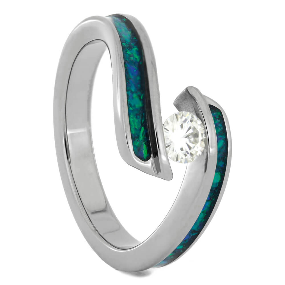 Tension Set Moissanite and Opal Engagement Ring with Titanium Twist Shank-2755 - Jewelry by Johan