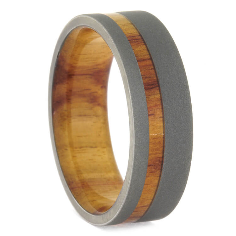 Mens Wooden Wedding Band With Tulip Wood Sleeve
