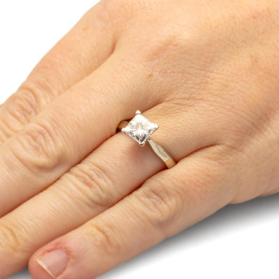 Princess Cut Moissanite Solitaire, 10k White Gold Engagement Ring-2763 - Jewelry by Johan