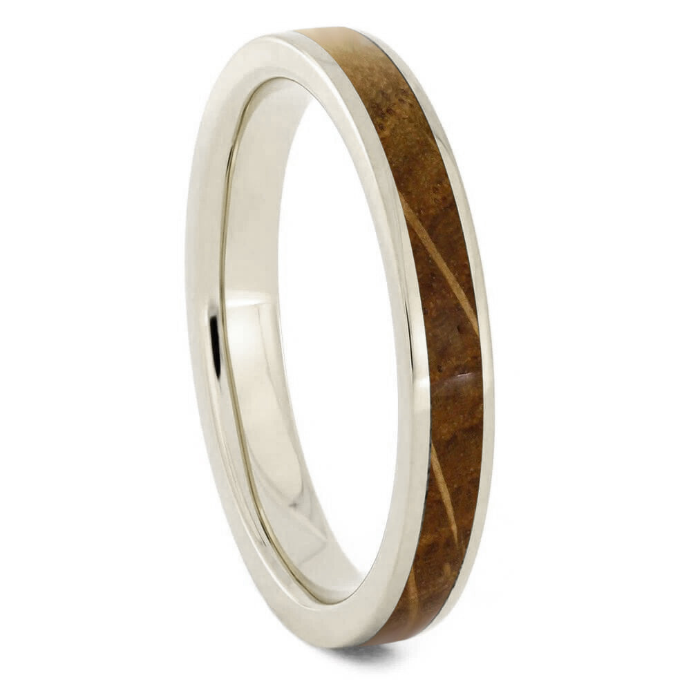 White Gold Wedding Band, Whiskey Barrel Oak Ring-2770 - Jewelry by Johan