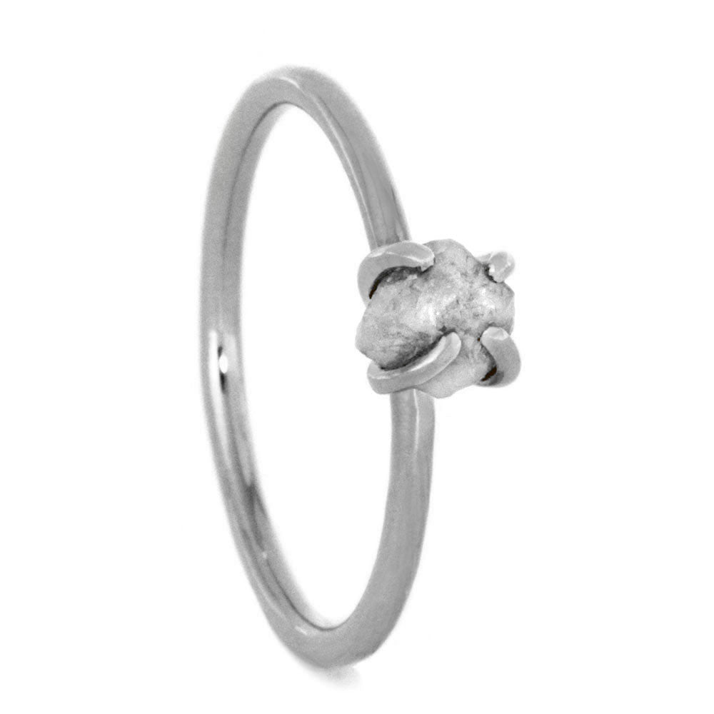 Rough Diamond Ring, Dainty 10k White Gold Ring-2993 - Jewelry by Johan
