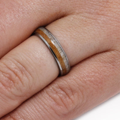 Thin Deer Antler Ring with Whiskey Barrel Oak Wood In Titanium-3282 - Jewelry by Johan