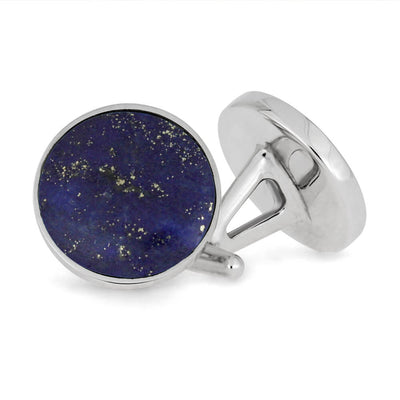 Round Lapis Lazuli Cuff Links in Sterling Silver-2811 - Jewelry by Johan