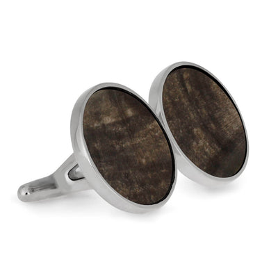 Round Petrified Wood Cuff Links, Made to Order-2812 - Jewelry by Johan