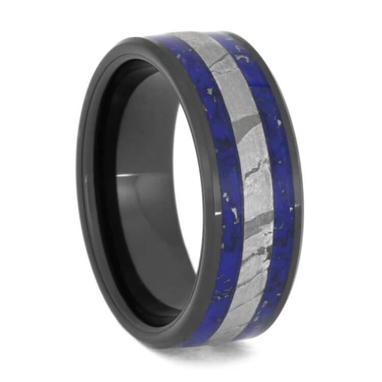 Seymchan Meteorite Ring With Crushed Lapis Stardust™-2687 - Jewelry by Johan
