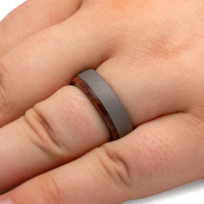 Honduran Rosewood Burl Ring With Sandblasted Titanium Finish-2845 - Jewelry by Johan