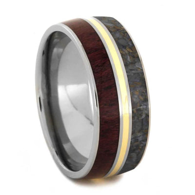 Wood Ring Inlaid With Dinosaur Bone And Purple Heart Wood-2849 - Jewelry by Johan
