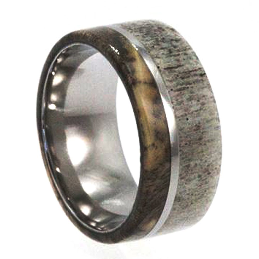 Antler And Buckeye Burl Wood Men's Wedding Band