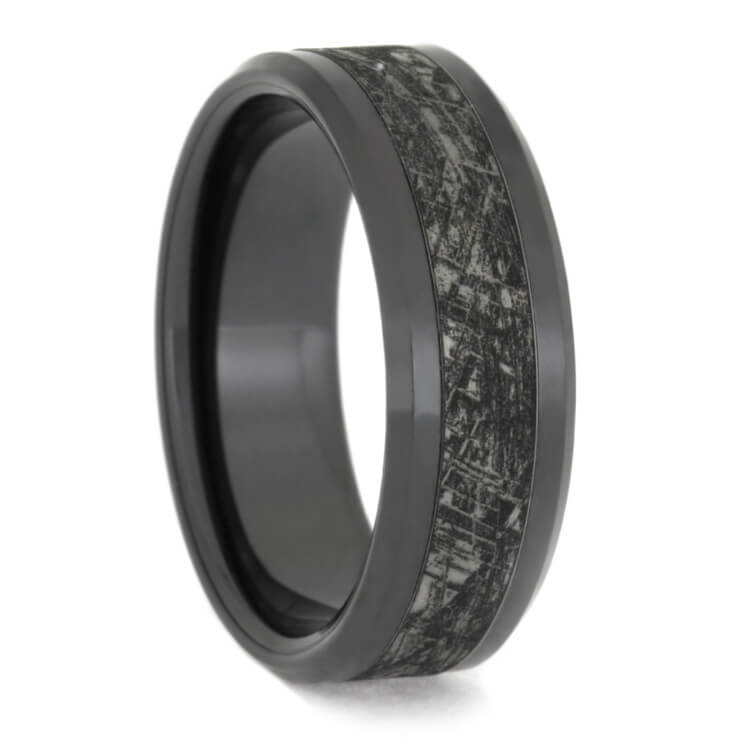 Mimetic Meteorite Wedding Band With Black Ceramic
