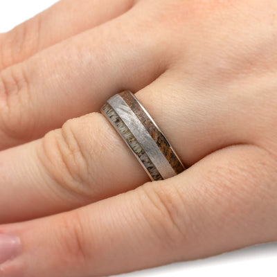 Men's Titanium Ring With Antler, Meteorite, And Dinosaur Bone-2906 - Jewelry by Johan