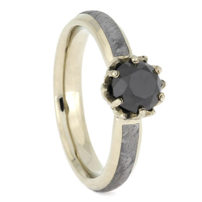 Black Diamond Meteorite Wedding Ring Set, Lotus Engagement Ring With Black Ceramic Wedding Band-2504