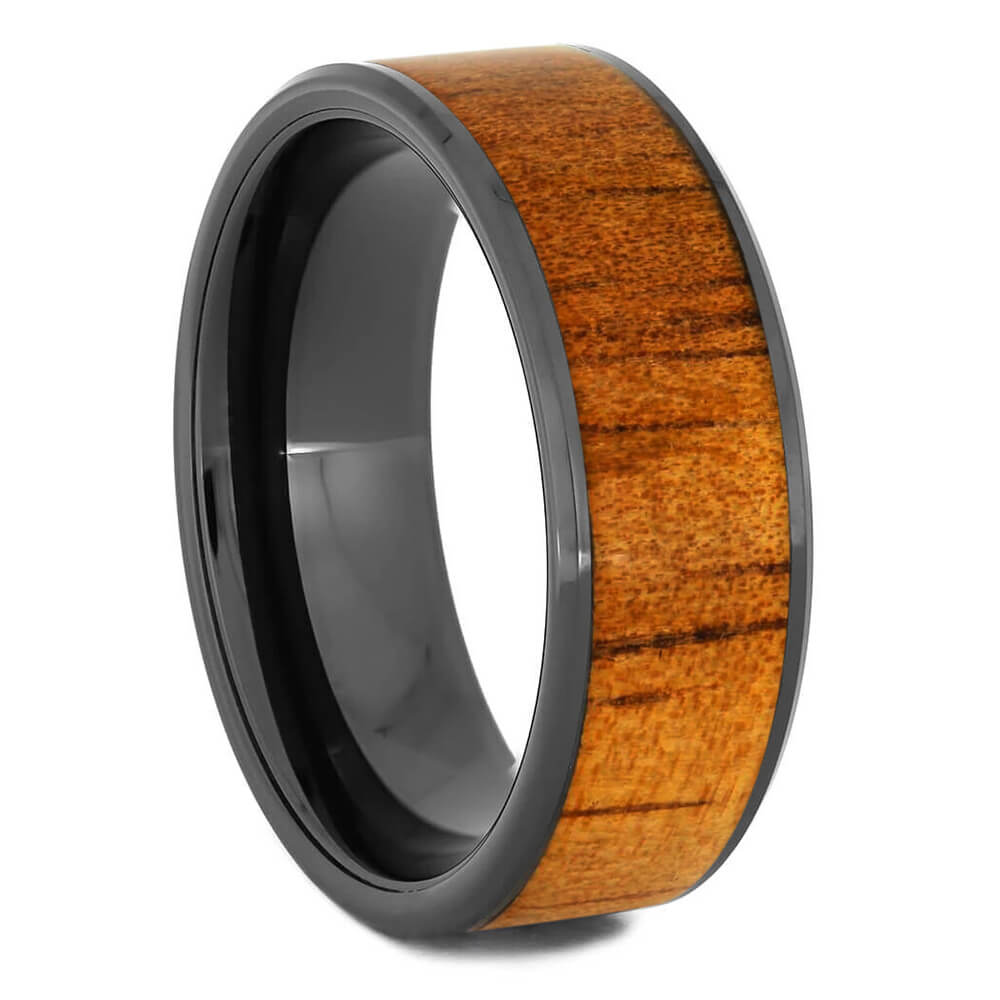 Wood Ring in Black Ceramic Wedding Band, Koa Wood-2934 - Jewelry by Johan