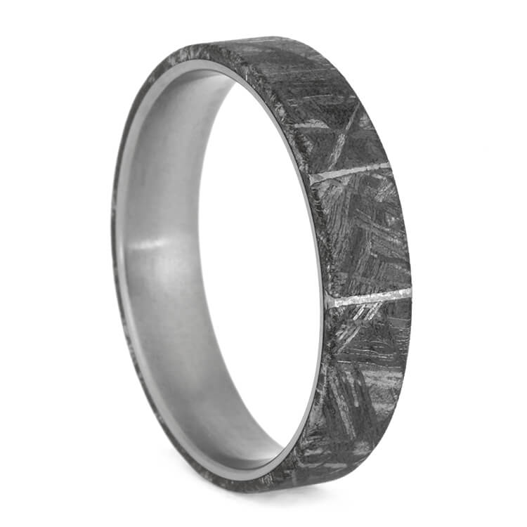 Large Meteorite Wedding Band With Perfect Meteorite