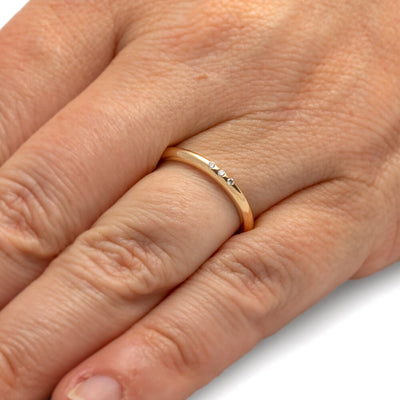 Simple Three Stone Gold Ring