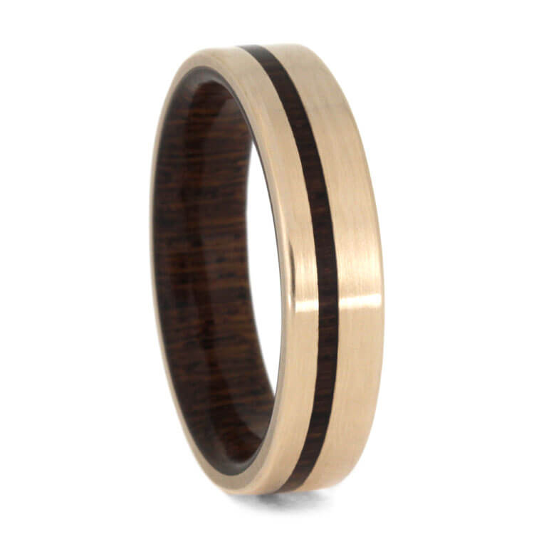 Rose Gold Wedding Band With Honduran Rosewood, Size 8-RS9942 - Jewelry by Johan