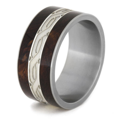 Mens Wedding Band Large Silver Celtic Knot Rings with Honduran Rosewood Burl-1967 - Jewelry by Johan