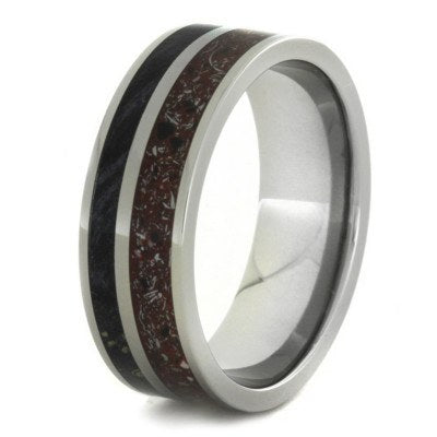 Red Concrete Ring with Black Box Elder Wood in Titanium