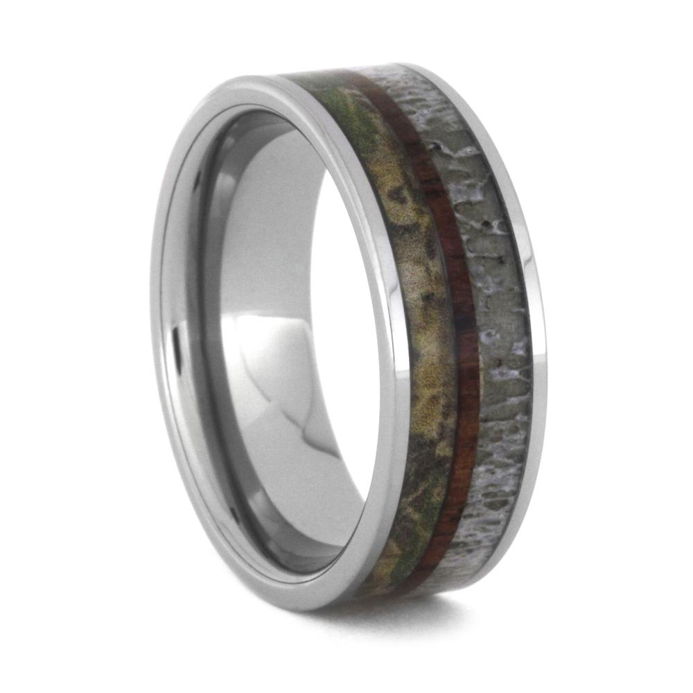 Tungsten Wedding Band With Antler, Camo And Kingwood