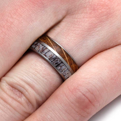 Titanium Wedding Band With Exotic Woods And Antler-3107 - Jewelry by Johan