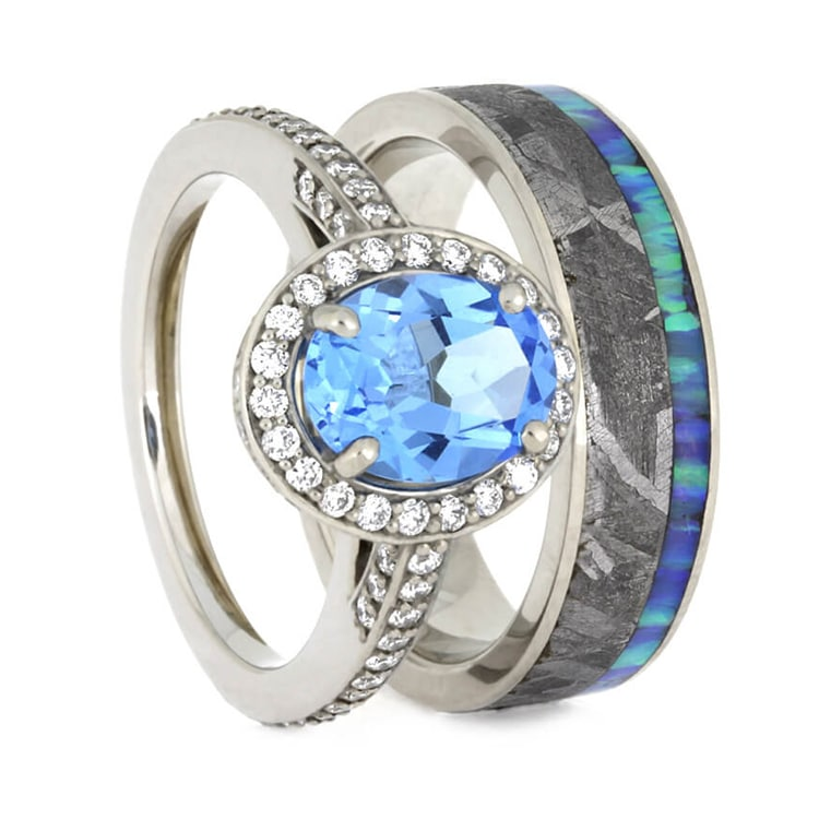 Gibeon Meteorite Wedding Ring Set, Topaz Engagement Ring With Opal Wedding Band-2497