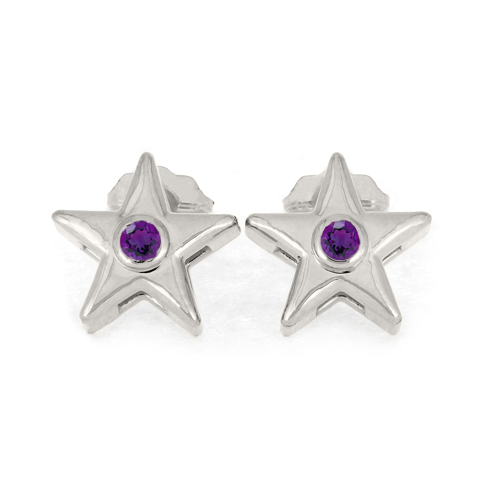 February Birthstone Gold Star Earrings with Amethyst-4650AM - Jewelry by Johan