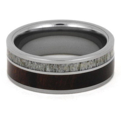 Men's Tungsten Wedding Band with Antler