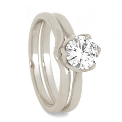 Moissanite Engagement Ring Set With Matching Wedding Band-3507