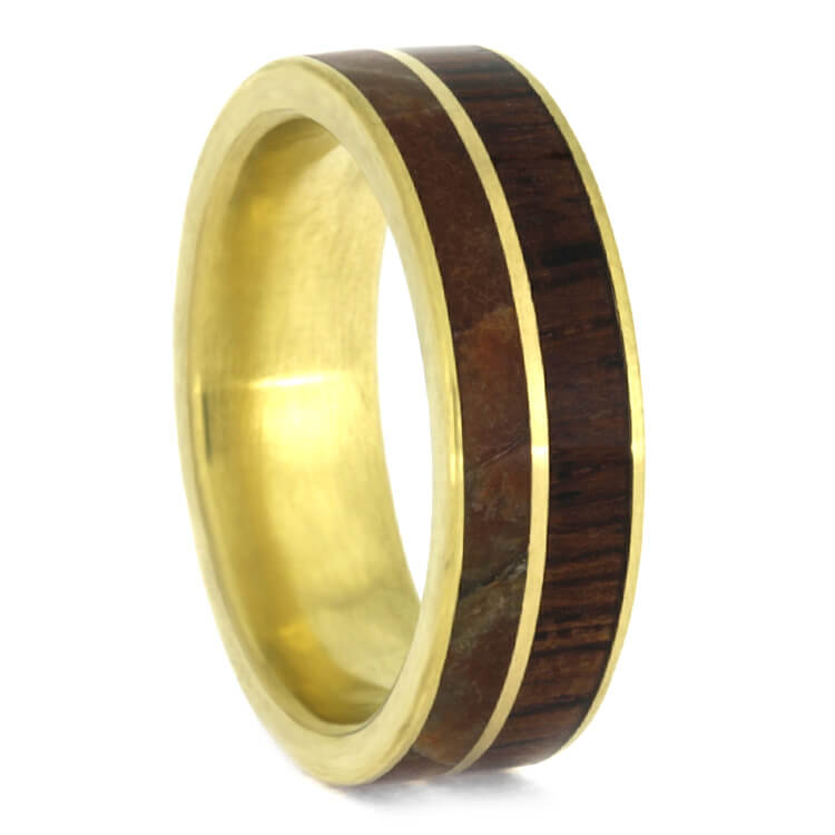 Yellow Gold Dinosaur Bone Wedding Band With Honduran Rosewood