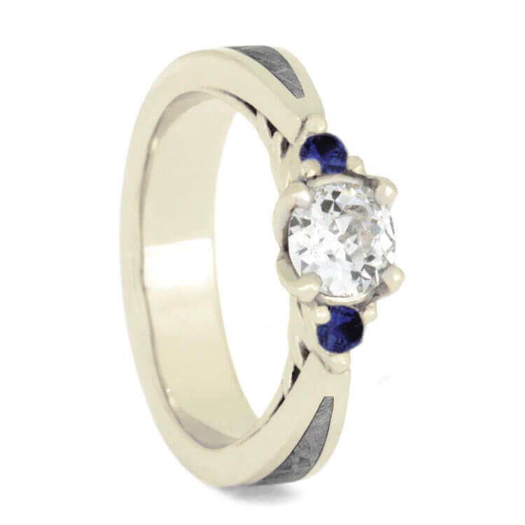 Three Stone Moissanite And Blue Sapphire Engagement Ring With Meteorite-3599 - Jewelry by Johan