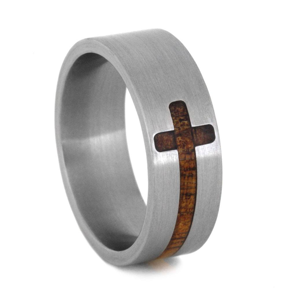 Titanium Wedding Band With Double Wood Cross-3214 - Jewelry by Johan