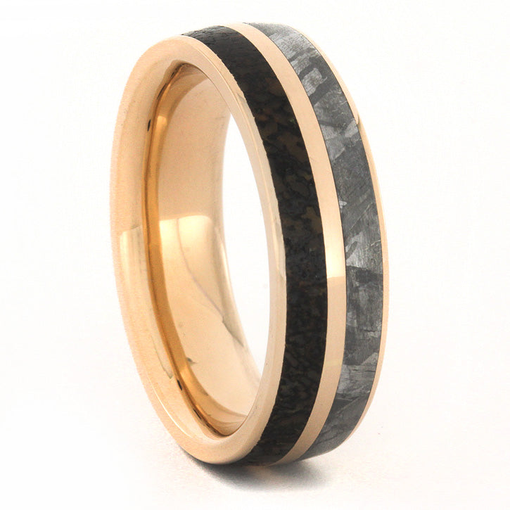 14k Rose Gold Wedding Band, Dinosaur Bone and Meteorite
