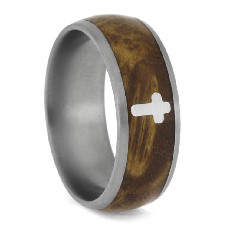 Black Ash Burl Ring With Silver Cross, Titanium Wedding Band-2480