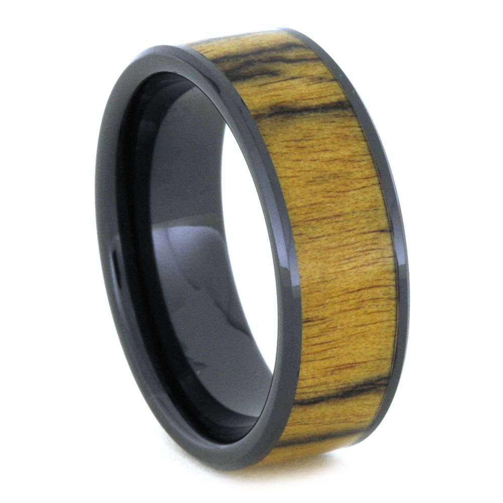 Black Ceramic Beveled Ring With Ebony Wood Inlay