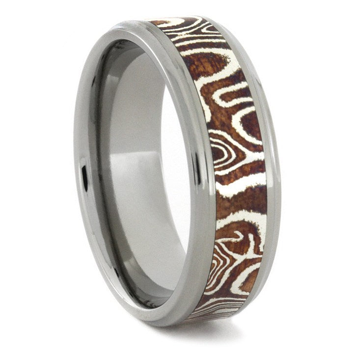 Copper and Silver Mokume Gane Ring with Titanium Sleeve-1740 - Jewelry by Johan