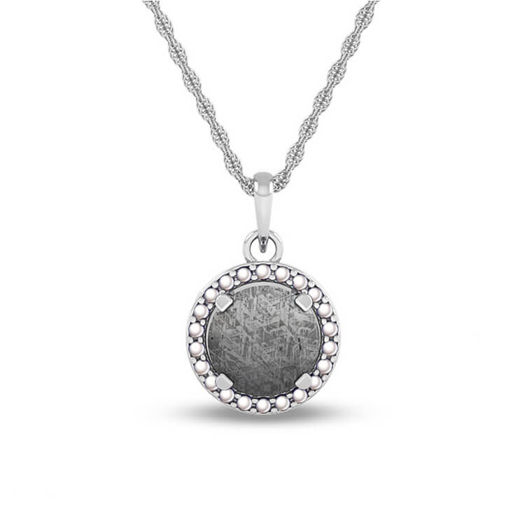 June Birthstone Pendant with Meteorite and Pearl on 14k White Gold Necklace-1682 - Jewelry by Johan