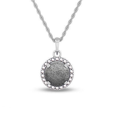 June Birthstone Pendant with Meteorite and Pearl on 14k White Gold Necklace-1682