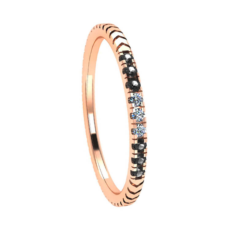 Unique Diamond Wedding Band in 14k Rose Gold-3120