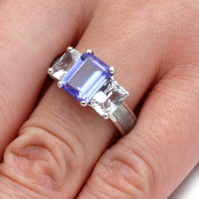 Tanzanite Engagement Ring with Sapphire and Gibeon Meteorite-2964 - Jewelry by Johan