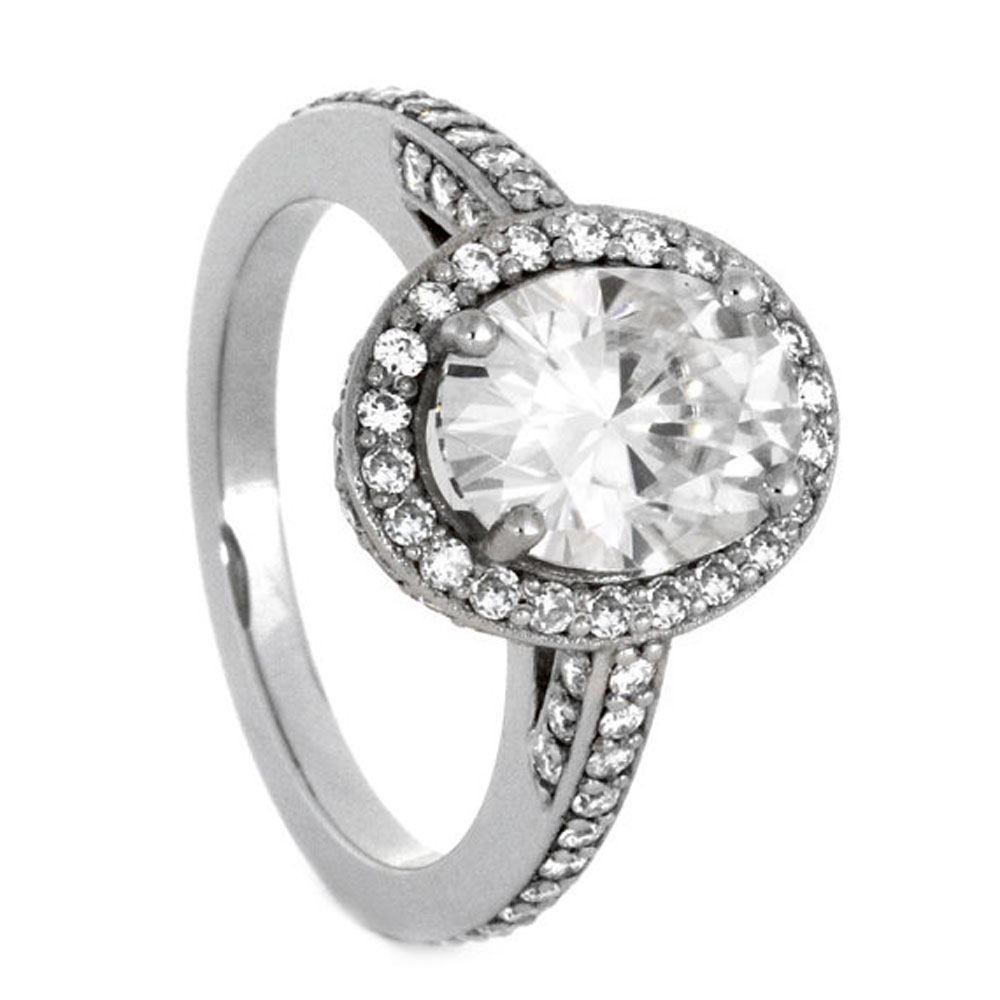 White Gold Engagement Ring with Halo Style Moissanites-2847 - Jewelry by Johan